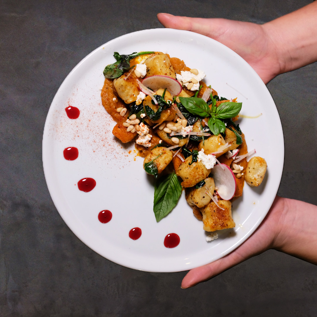 gnocchi pasta on a plate by melbourne restaurant photography services